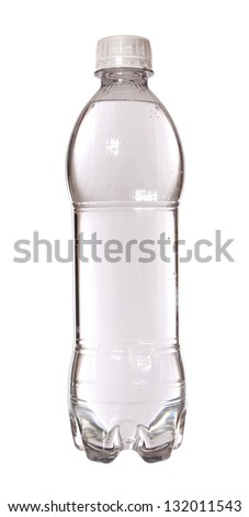 bottle of water plastic and small isolated on white background - stock photo