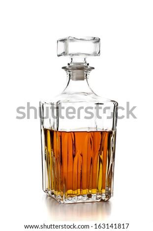 bottle of whiskey on white background - stock photo