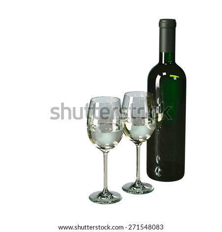 Bottle of white wine with glasses isolated on white. Picture for beverage company advertising. - stock photo
