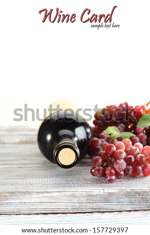 bottle of wine and fruits  - stock photo
