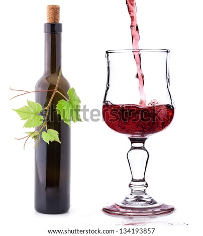 Bottle of wine and glass isolated on white background - stock photo