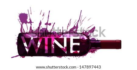 Bottle of wine made of colorful splashes - stock photo