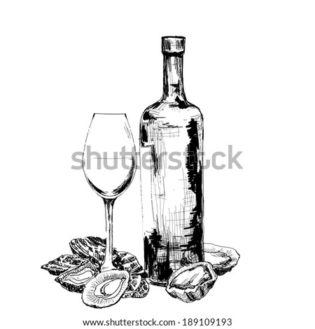 Bottle of wine, oysters and glass - stock photo