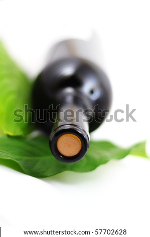 bottle of wine with copyspace for your text message - stock photo