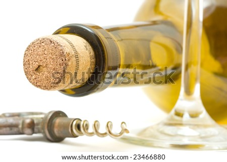 Bottle of wine with corkscrew - stock photo