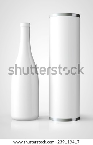 Bottle of Wine with Package on a white background - stock photo