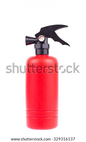 bottle plastic model of Fire safety isolated on white background - stock photo