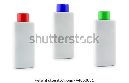 bottle plastic set white isolated - stock photo