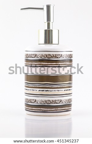 Bottle Put the gel cleaning hand in toilet. - stock photo