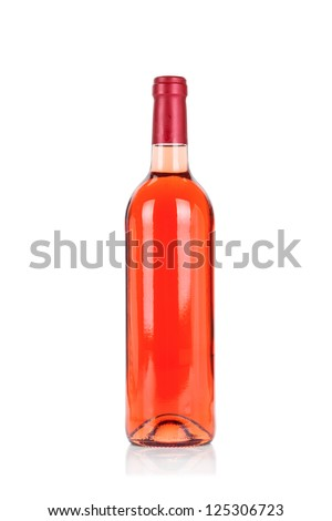 Bottle set. Rose wine isolated on white background - stock photo