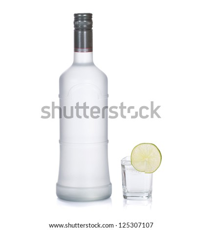 Bottle set. Vodka with lime isolated on white background - stock photo