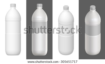 Bottle template with and without label. 3D render. - stock photo