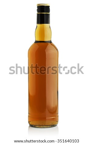 Bottle with alcohol on a white background - stock photo