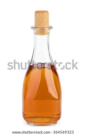 Bottle with apple vinegar  isolated on the white background - stock photo