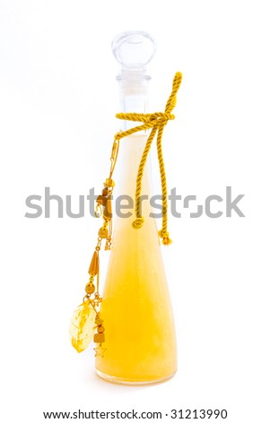 Bottle with bath gel isolated on white - stock photo