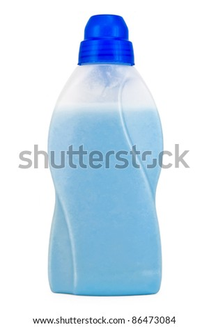 Bottle with blue cleaning fluid and mitigate isolated on a white background - stock photo