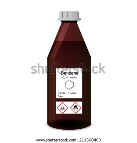 Bottle with chemical toxic and flammable solvent - benzene reagent, 3d illustration, isolated on white background, raster - stock photo