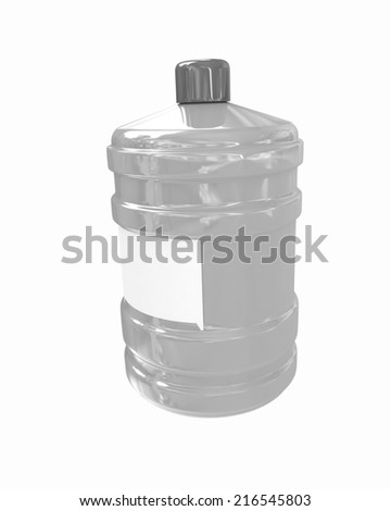 Bottle with clean blue water on a white background - stock photo