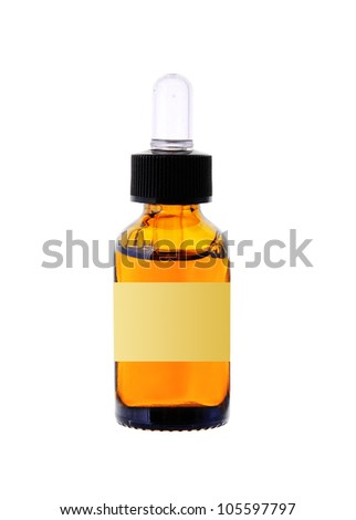 bottle with essence oil isolated on white - stock photo