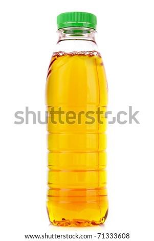 Bottle with juice isolated on white - stock photo