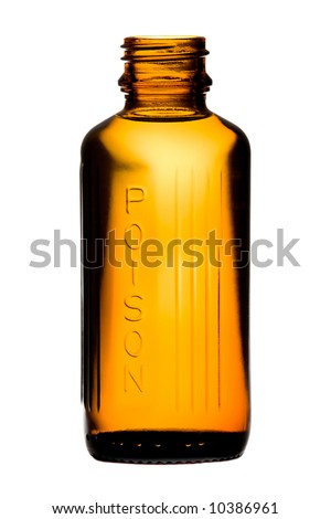 Bottle with poisonous drug over white background - stock photo