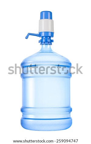 Bottle with pump isolated on white background. - stock photo