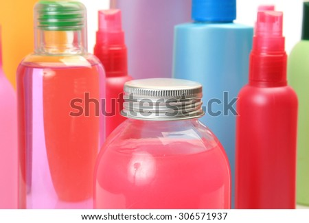 bottle with shampoos - stock photo