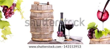 bottles and glass of wine, assortment of grapes and cheese cork on table isolated on white - stock photo
