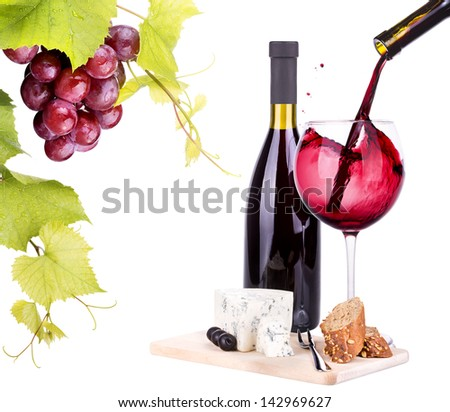 bottles and glasses of wine, assortment of grapes and cheese isolated on white - stock photo