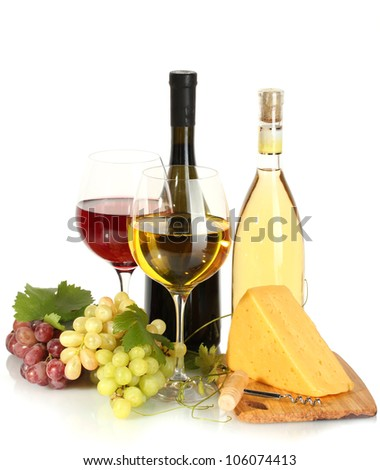 bottles and glasses of wine, cheese and ripe grapes isolated on white - stock photo