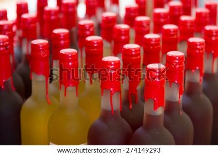 bottles at the wine shop or winery - stock photo