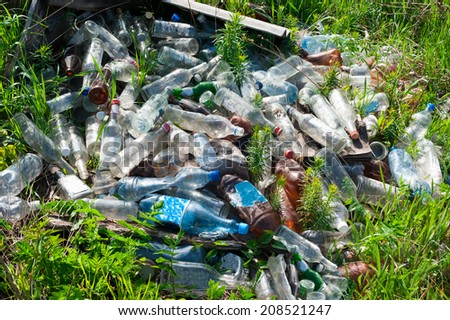 Bottles in a landfill - stock photo