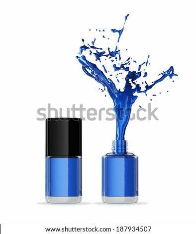 Bottles of blue nail polish - stock photo