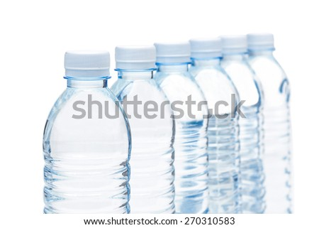 bottles of fresh water isolated - stock photo