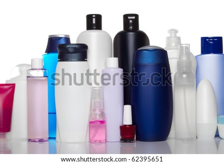 bottles of health and beauty products - stock photo
