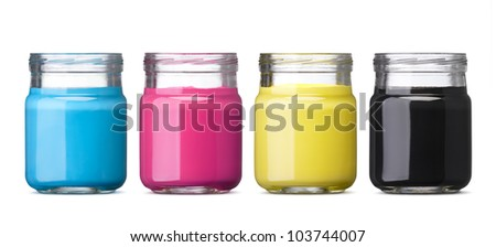 bottles of ink in cmyk colors isolated on white - stock photo