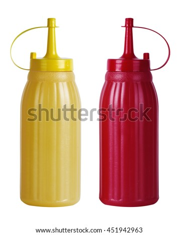 Bottles of Ketchup and Mustard. Isolated on White background - stock photo