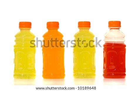 Bottles of Lemonade against white background - stock photo