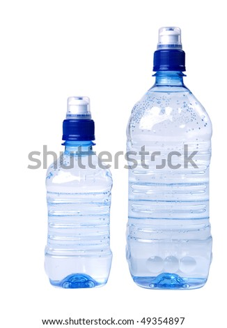 Bottles of water isolated on the white background - stock photo