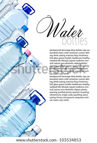 Bottles of water isolated on the white with copy space - stock photo
