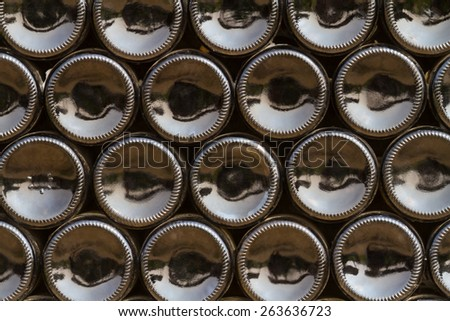 Bottles stack near old winery. - stock photo