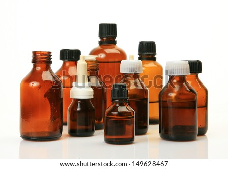 Bottles with a medicine  - stock photo
