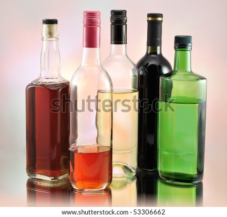 bottles with alcohol - stock photo