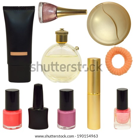 Bottles with cosmetics. Isolated on white background - stock photo
