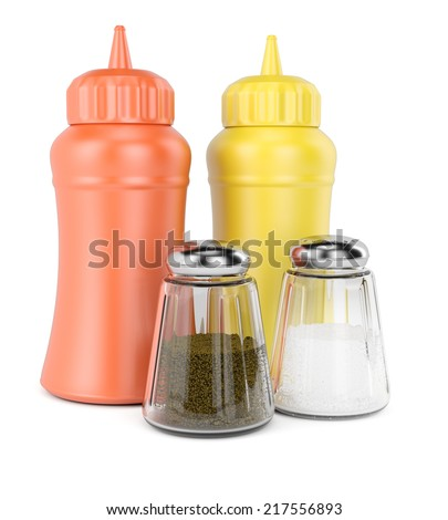 Bottles with spices isolated on white background. 3d rendering image - stock photo