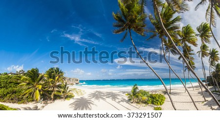 Bottom Bay is one of the most beautiful beaches on the Caribbean island of Barbados. It is a tropical paradise with palms hanging over turquoise sea. Panorama - stock photo