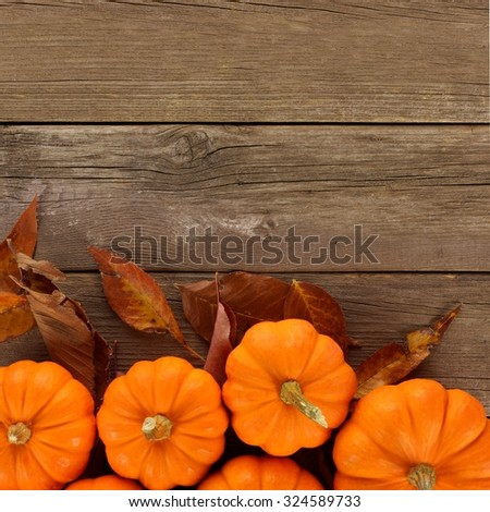Bottom border of scattered autumn pumpkins and leaves on rustic wood background, overhead view - stock photo