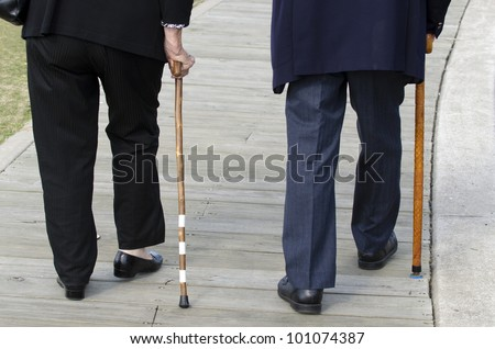 Bottom half of an elderly couple walking with a wood cane sticks. Concept photo of old age, health care, senior couple, old people lifestyle, pensioner, love, relationship, retirement.  - stock photo