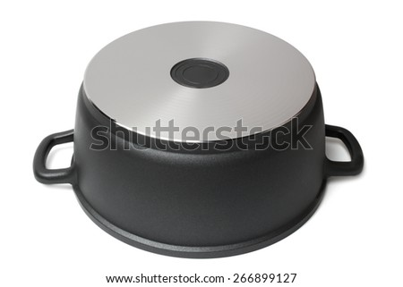 Bottom of stainless pan on white background - stock photo