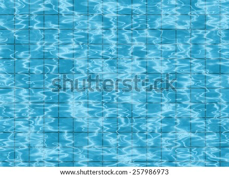 bottom of swimming pool. view on tile floor through water - stock photo